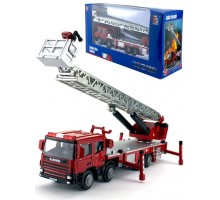Машинка     коллекционная, спецтехника - пожарная машина с лестницей L